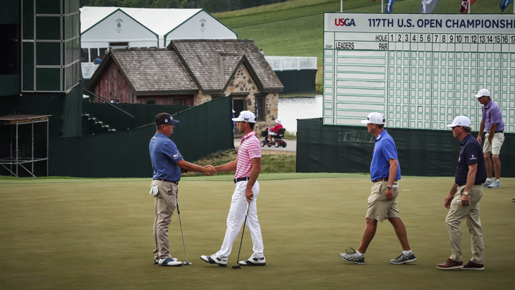 The trio finishes on No. 18, and Dufner continued...
