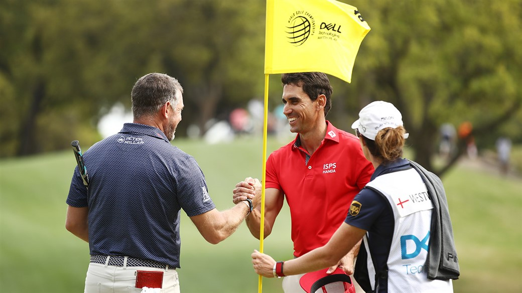 Lee Westwood and Rafa Cabrera Bello shake hands after their match at the WGC-Dell Technologies Match Play